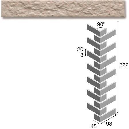 ニッタイ工業株式会社 外装壁タイル フレーバー(接着剤張り工法) FL203/5BRM ボーダー曲り(ユニット)(接着)