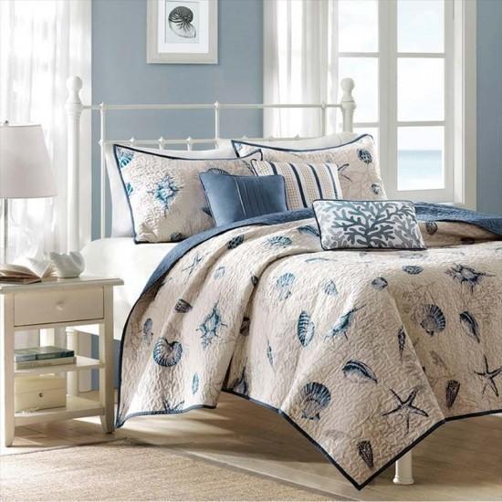マディソンパーク Madison Park ベッド ベッドリネン bed linen ベッドカバー 薄手の上掛け布団 キルト6点セット 貝殻 ビーチ - クイーンサイズ