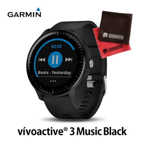 GARMIN (ガーミン) GPS内蔵 スマートウォッチ 010-01985-23 vivoactive3 Music 黒 オリジナルクロスセット (メール便不可)