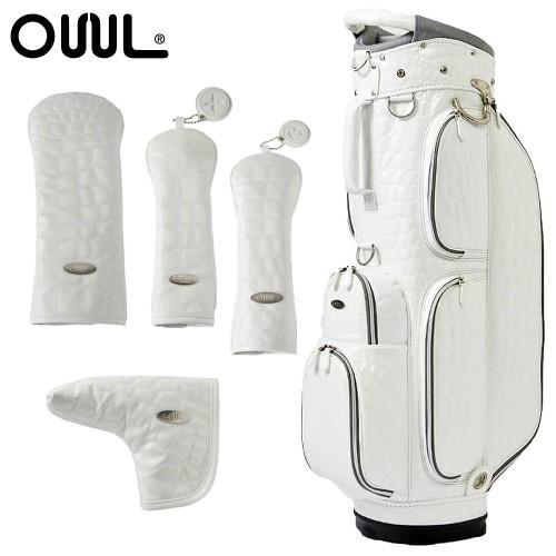OUUL(オウル)Alligator 5WAY CART BAG(AL8ACT-1 白い)ヘッド&パターカバー 5点セット(カートバッグ/キャディバッグ)(ラッピング不可)(メール便不可)