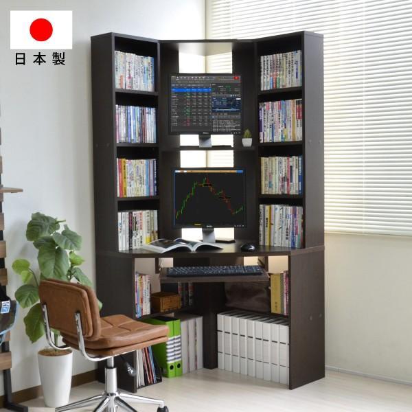 パソコンデスク l字 コーナー 三角 ダブルディスプレイ対応 日本製 送料無料 js115dbr テレワーク 限定品 在宅勤務 リモートワーク 時間指定不可 新生活 ホームオフィス