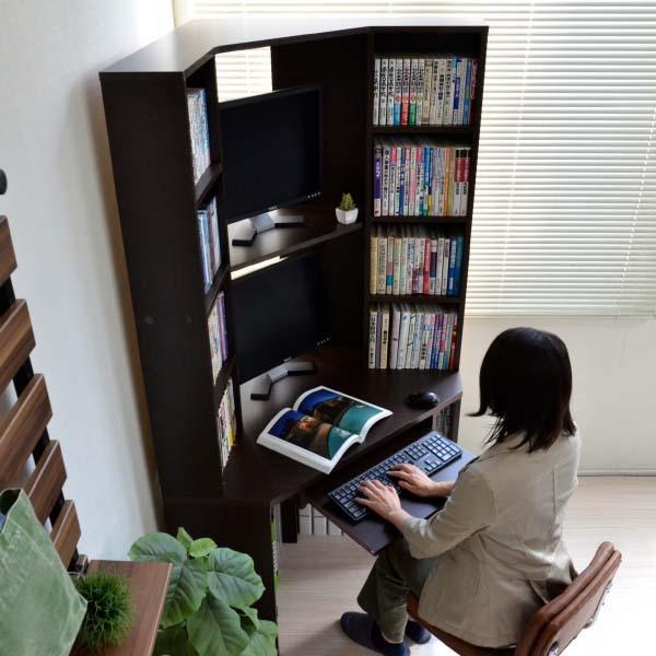 パソコンデスク l字 コーナー 三角 ダブルディスプレイ対応 日本製 送料無料 新生活  リモートワーク テレワーク 在宅勤務 ホームオフィス js115dbr homestyle 02