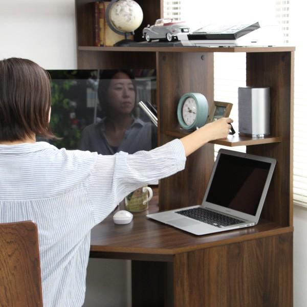 パソコンデスク l字 L字型 コーナー 幅125cm 幅100cm 収納 ブラウン 机 オフィスデスク リモートワーク テレワーク 在宅勤務 ホームオフィス PD001 セール|homestyle|11