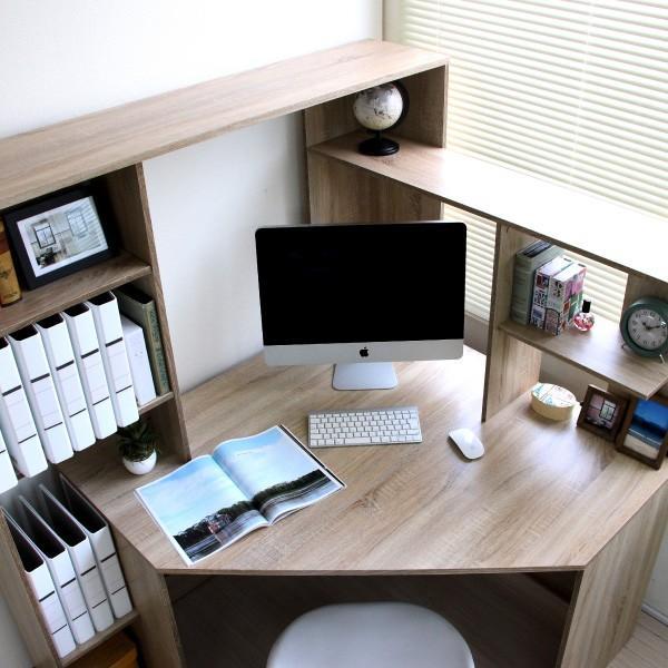 パソコンデスク l字 L字型 コーナー 幅125cm 幅100cm 収納 ブラウン 机 オフィスデスク リモートワーク テレワーク 在宅勤務 ホームオフィス PD001 セール|homestyle|06