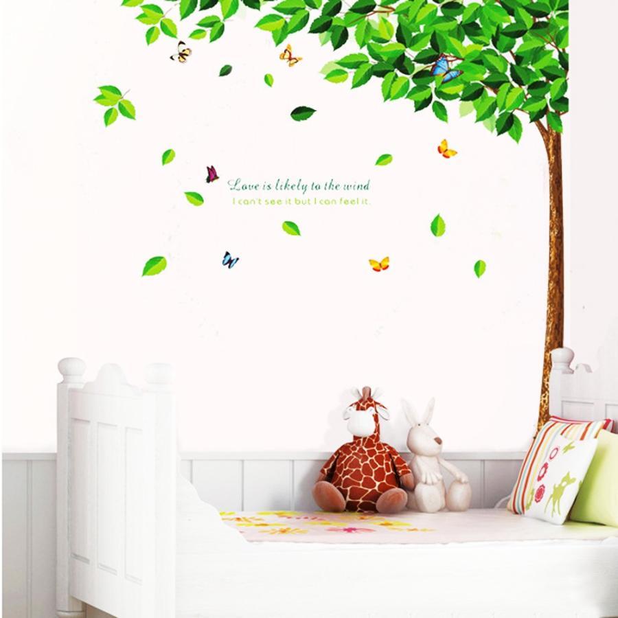 木の葉と蝶 大きいサイズ ウォールステッカー ウォールペーパー シール (人気激安) 贈呈 リビング お風呂にもOK 防水 子供部屋