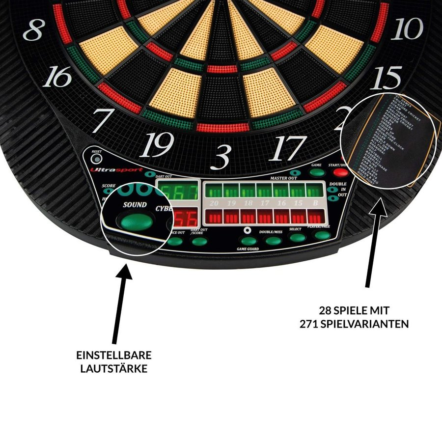 UItrasport Dartboard electronic、8人用クラシックダーツボード、28ゲーム、12ソフトダーツを含む167バリアント/電子