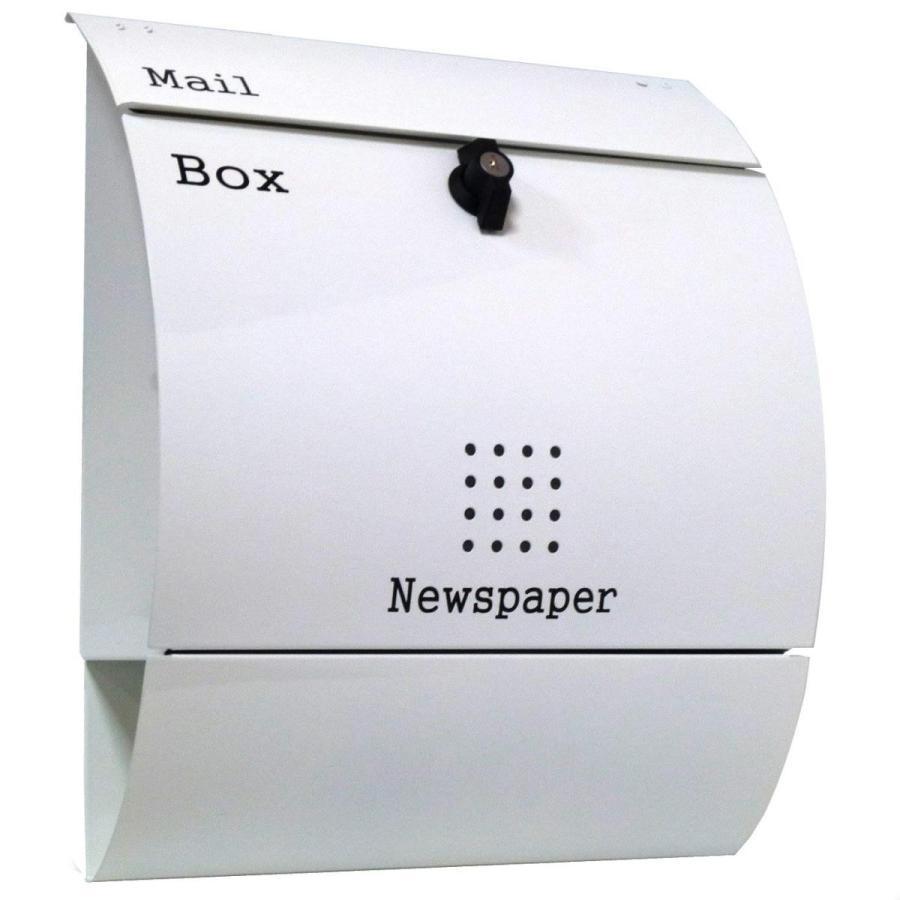 おしゃれな郵便ポスト郵便受けmailbox大型 プレミアムステンレス ホワイト白色ポストpm033