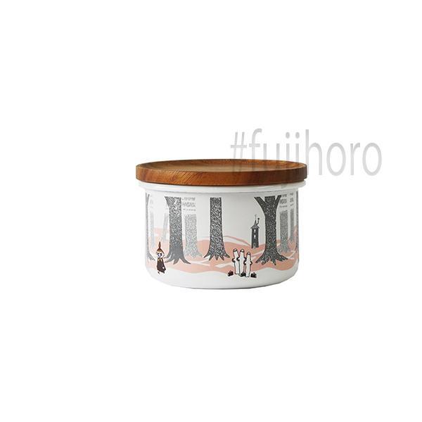 ホーロー 琺瑯 ほうろう MOOMIN 富士ホーロー ムーミンインザフォレスト 9cmキャニスターS  ホーロー キッチン用品 グッズ 収納 安心のメーカー直販|honeyware