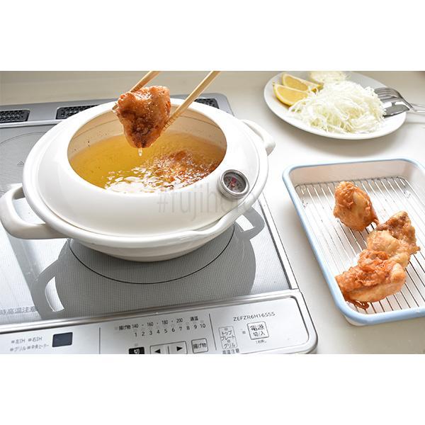 24cm ホーロー天ぷら鍋 (温度計付き)|honeyware|08
