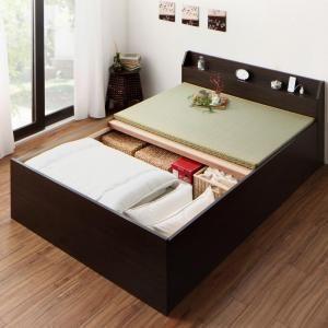お客様組立 布団が収納できる棚・コンセント付き畳ベッド クッション畳 セミダブル[4D][00]