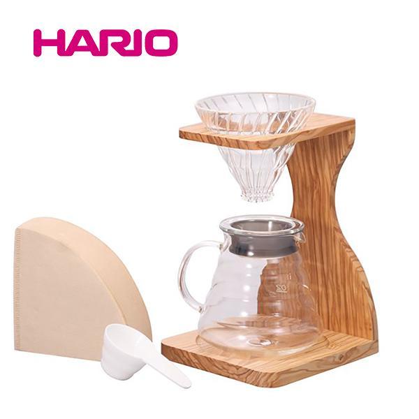 ハリオ HARIO V60 オリーブウッドスタンドセット VSS-1206-OV|honpo-online