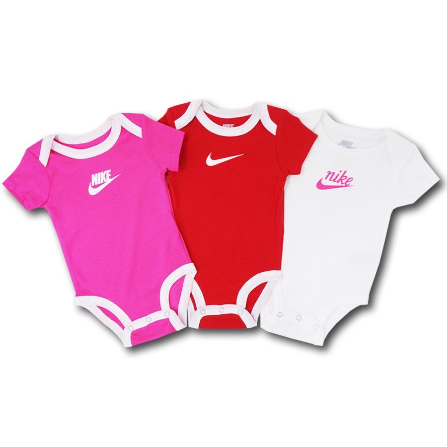 別倉庫からの配送 ベビー ナイキ ロンパース 3枚セット Nike 買い取り Infant Romper 赤ちゃん Set Piece ピンク赤白 ベビー服 3 BY140