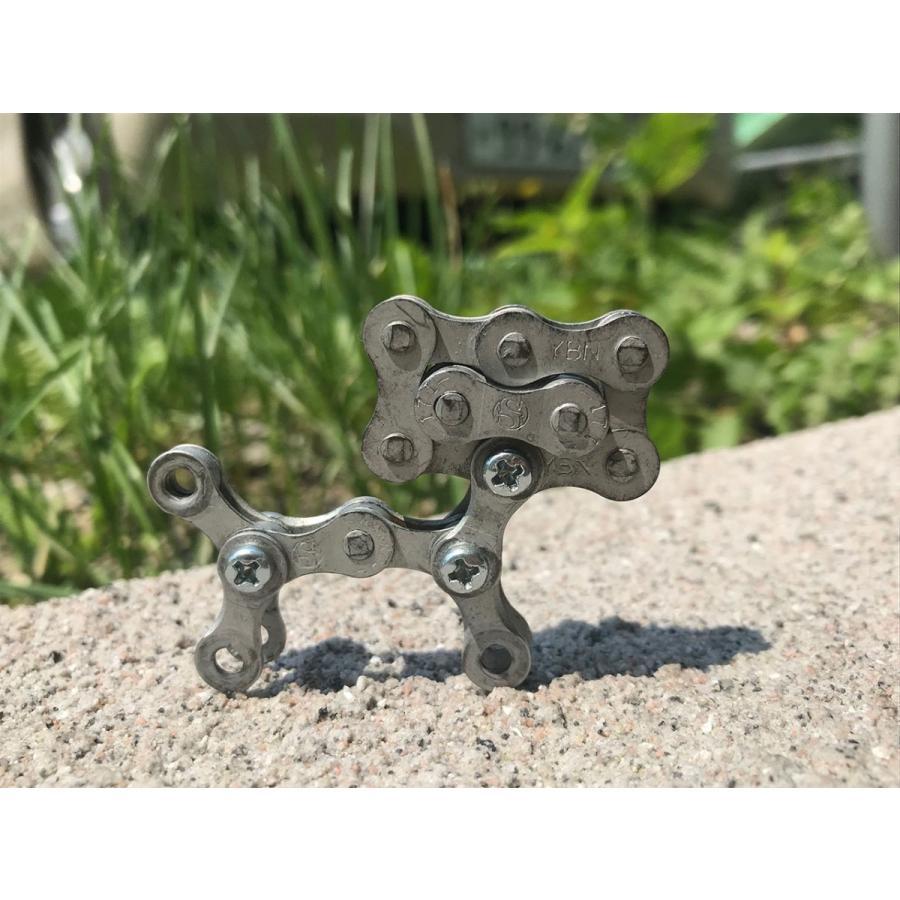インテリア小物 自転車 チェーン 犬 オシャレ シンプル パーツ john002 チェーン犬ジョン(シルバー)|hope-kobo