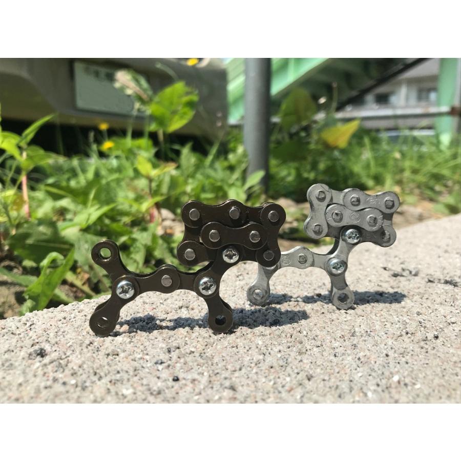 インテリア小物 自転車 チェーン 犬 オシャレ シンプル パーツ john002 チェーン犬ジョン(シルバー)|hope-kobo|02