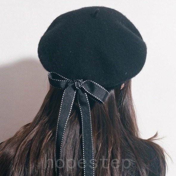 ベレー帽赤いリボン上品ウールフェミニンロリータロリィタゆめかわいいゴスロリガーリー冬帽子ファッション小物春秋オールシーズン|hopestep|05