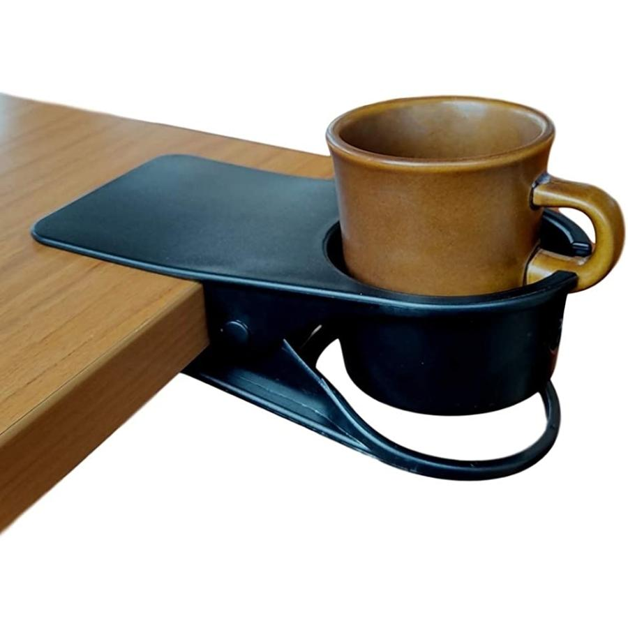 ドリンクホルダー カップ クリップ オフィス デスク 春の新作続々 などで マグカップ 割り引き カップホルダー 固定 クリップ式 ブラック ボトル