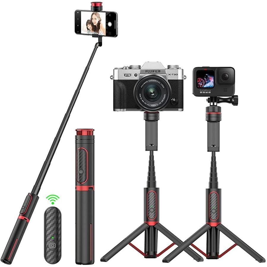 自撮り棒 セルカ棒 三脚 一脚兼用 Max1.3mまで伸びる 0.8M MDM 折りたたみ 予約 GoPro対応 Bluetoothリモコン付き ※ラッピング ※
