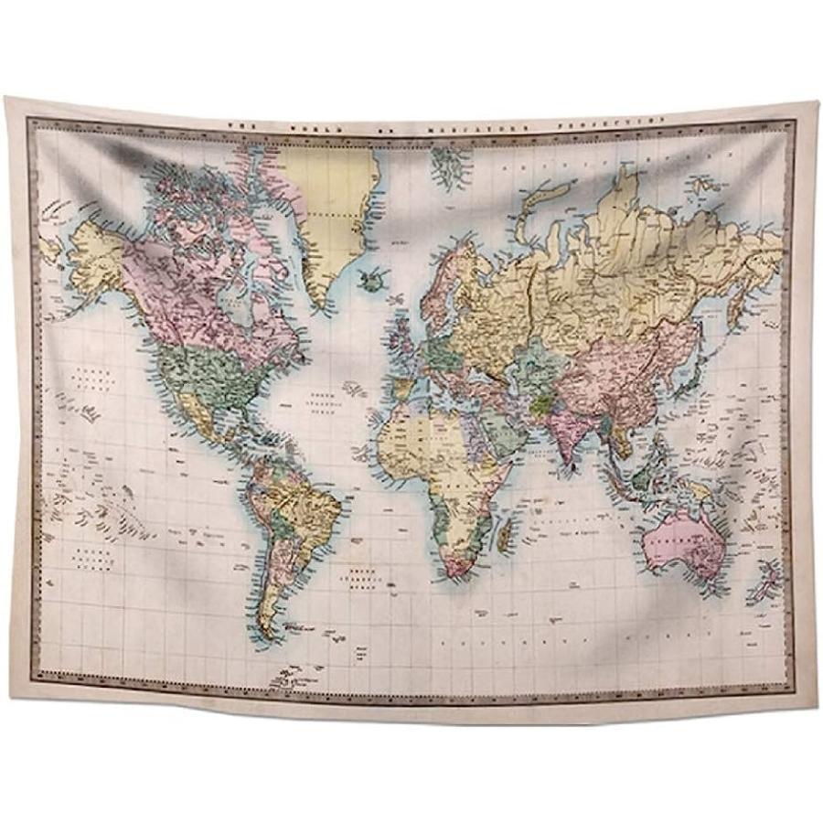 タペストリー 地図 おしゃれ プレゼント インテリア 装飾 壁飾り ヴィンテージ世界地図, 75x100 MDM 新色追加 18%OFF ヴィンテージ世界地図 厚手