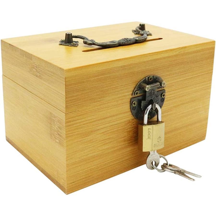 ZAKKA 385 鍵付き ボックス貯金箱 お札 折らないで投入 タイムセール 詰まらない 竹製 ストア MDM 持ち手付き
