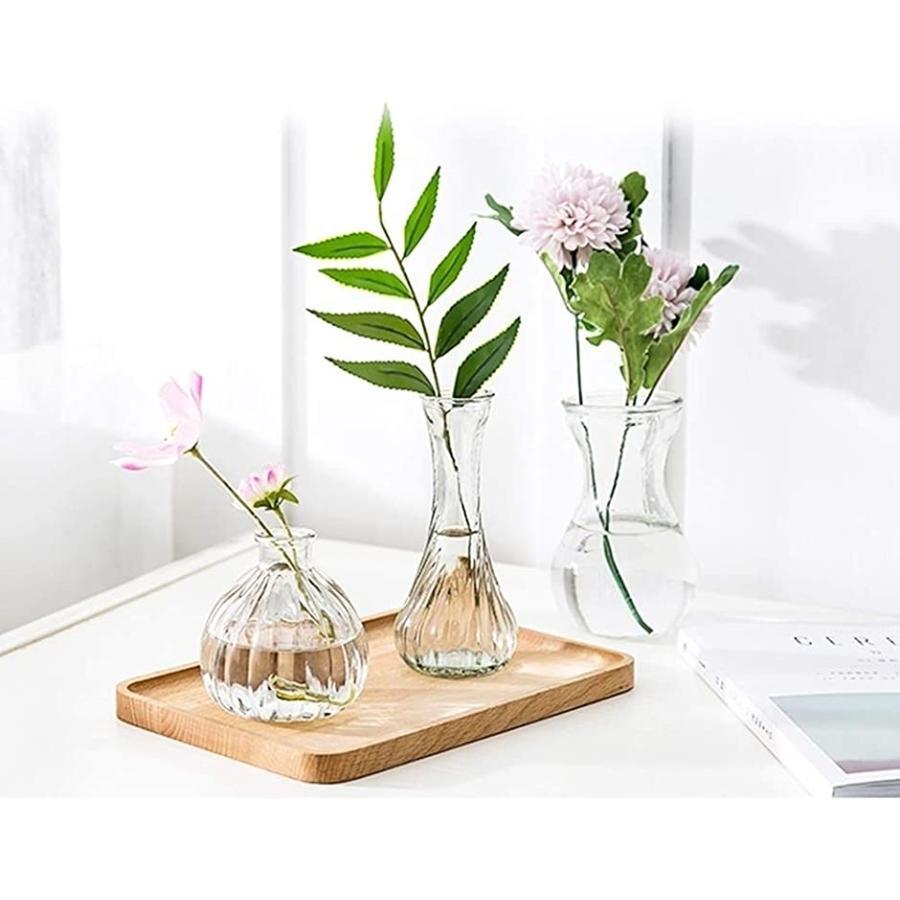 花瓶 おしゃれ お得セット 北欧風 一輪挿し アンティーク フラワーベース 3個セット 休日 モダン シンプル ガラス