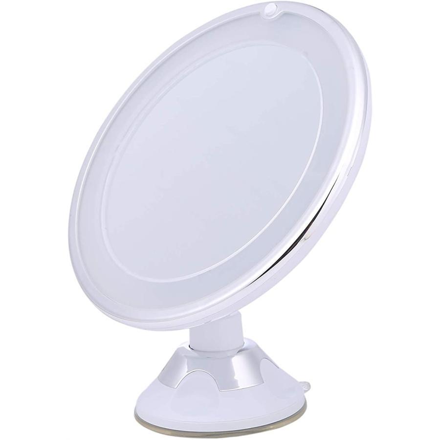 10倍拡大鏡 [再販ご予約限定送料無料] LED化粧鏡 浴室鏡 卓上鏡 曇らないミラー 吸盤ロック付きLEDミラー 白, 白 21 壁掛けメイクミラー MDM 与え