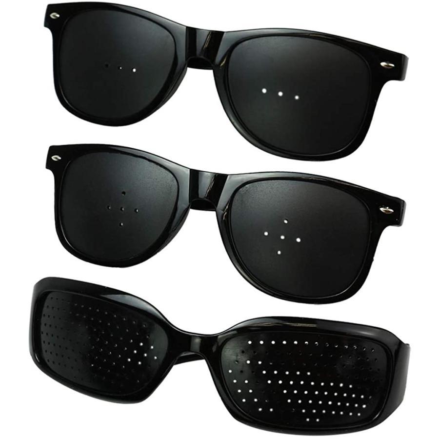 AINetJP 上等 ピンホールメガネ 付与 トレーニングメガネ サングラス フリーサイズ ブラック 3種セット