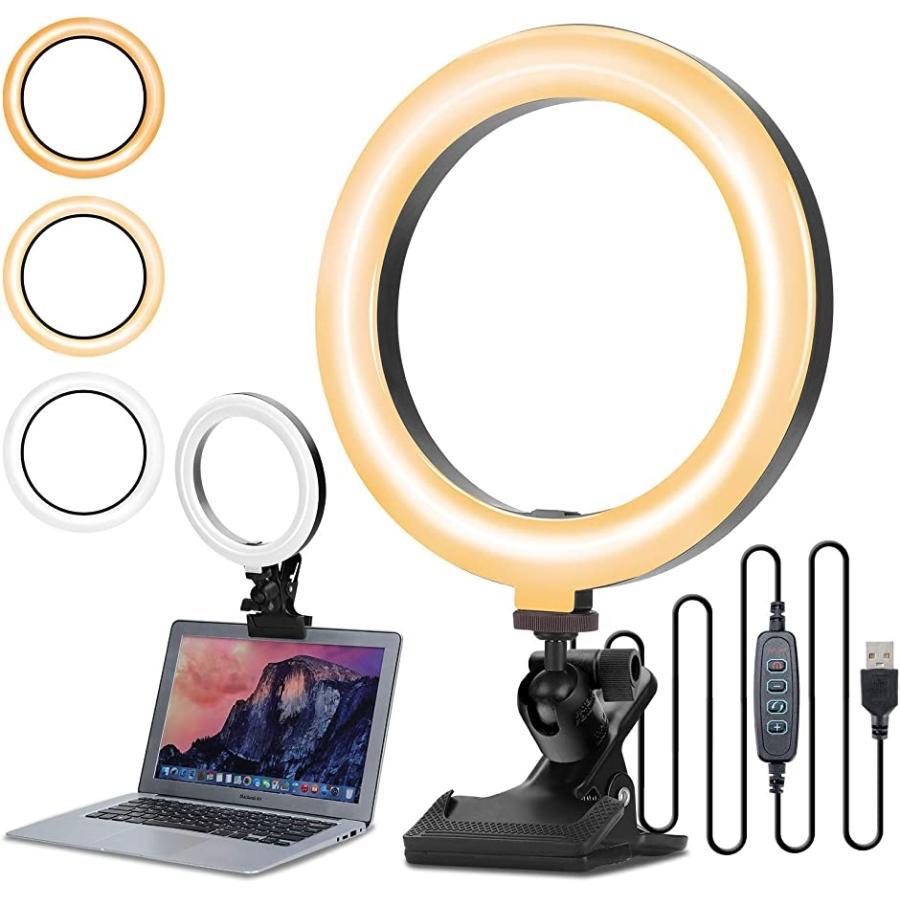 2021最新版 リングライト おトク 8インチ LEDビデオライト クリップ式 買い物 照明用ライト MDM A項 卓上ライト 高輝度 自撮り補光