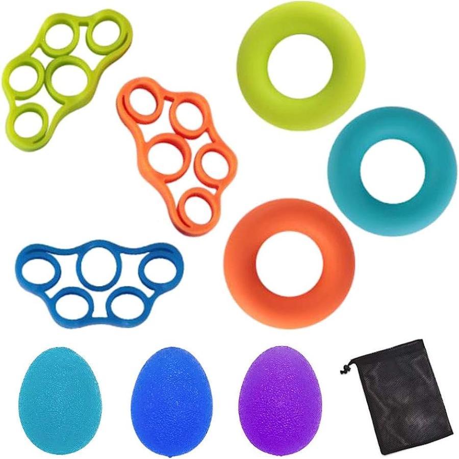 ついに再販開始 指 リハビリ 握力 トレーニング 超安い 9個セット マルチカラー ハンドグリップ エクササイズボール 卵型
