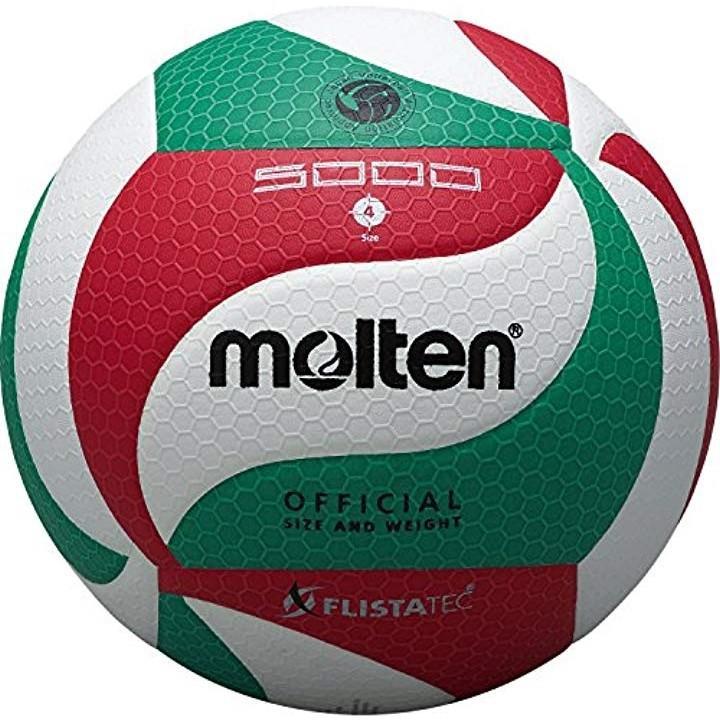 バレーボール フリスタテック 4号 検定球[V4M5000](白×赤×緑, 4号球)