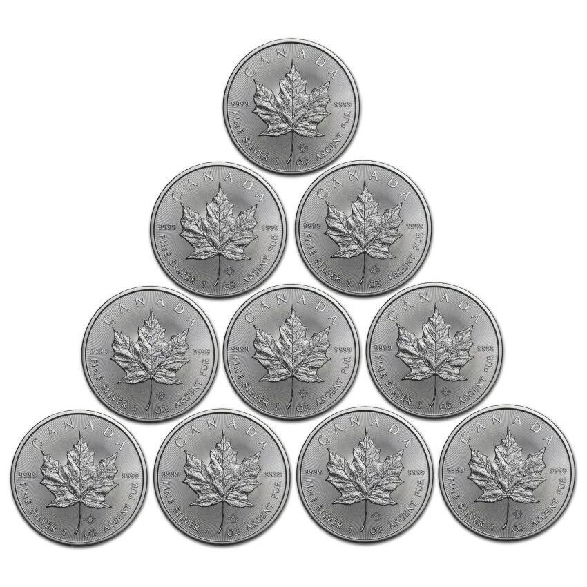 メイプルリーフ銀貨 1oz 2021年 10枚セット(10オンス) クリアケース入り メープルリーフ銀貨 1オンス メイプル銀貨 カナダ王室造幣局発行 Silver Coin(5