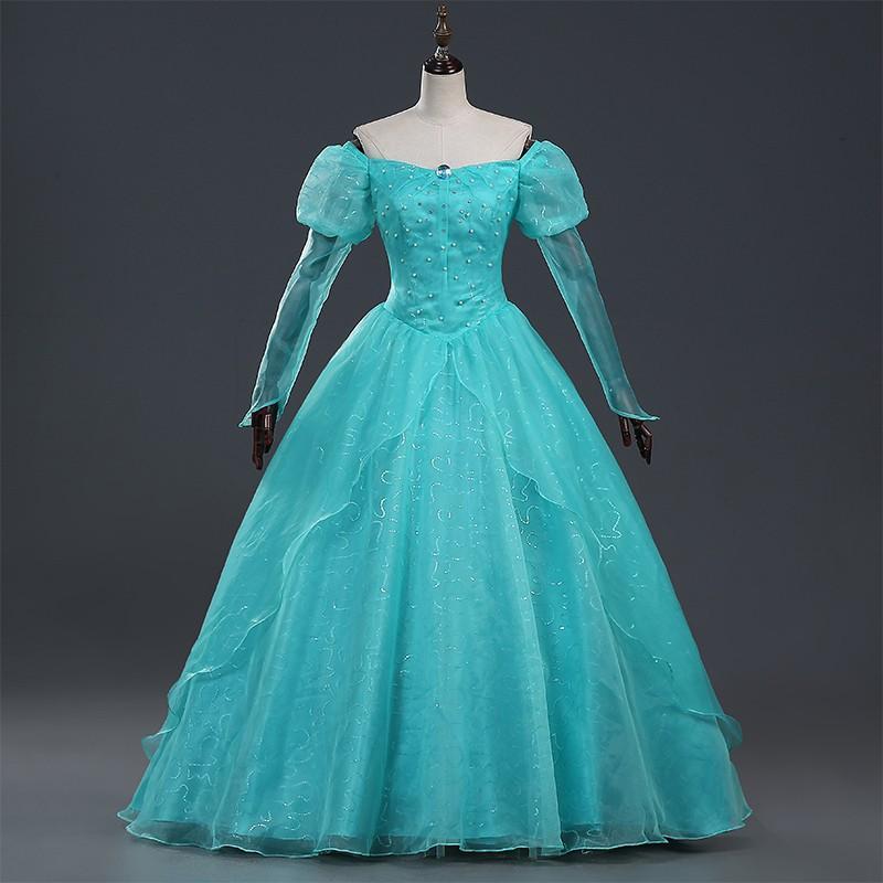 M55 ハロウィン 女性用 アリエル ワンピース 人魚姫 プリンセスドレス お姫様 コスプレ レディース なりきりワンピース 大きいサイズ ロングドレス