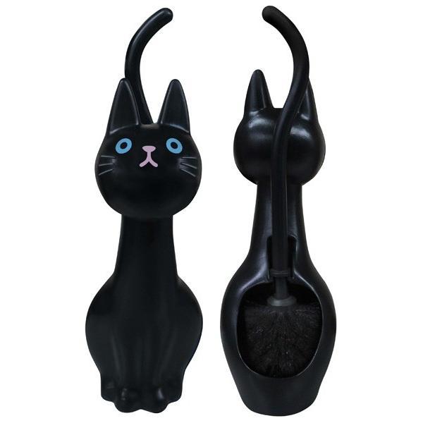 ねこのしっぽのトイレブラシ クロ トイレ掃除 掃除道具 W116mm×D145mm×H380mm 黒猫 明邦/MEIHO ME99|hotroadparts|02