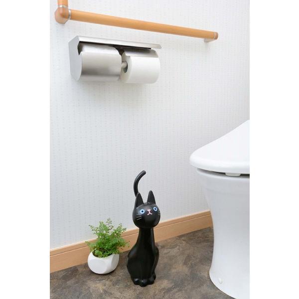 ねこのしっぽのトイレブラシ クロ トイレ掃除 掃除道具 W116mm×D145mm×H380mm 黒猫 明邦/MEIHO ME99|hotroadtirechains|03