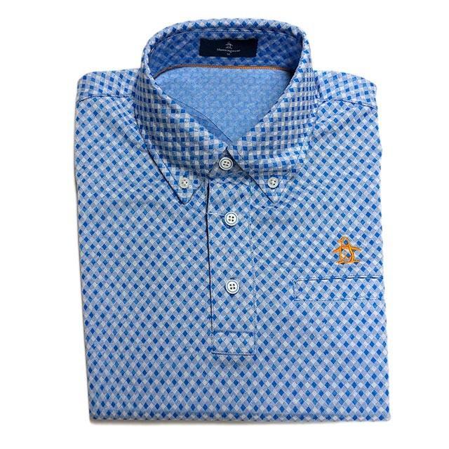 30%OFFセール マンシングウェア メンズ  半袖ポロシャツ バイヤスギンガムチェック ボタンダウン ブルー 2019年春夏新作 MGMNJA16 ゴルフ