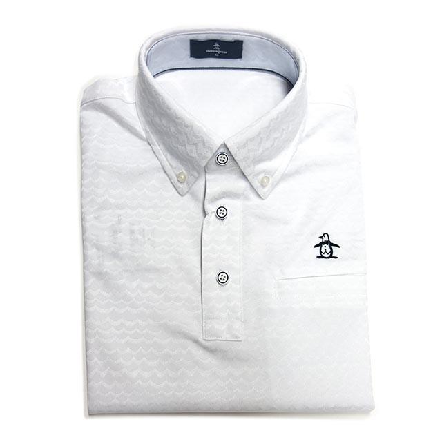 30%OFFセール マンシングウェア メンズ  半袖ポロシャツ 波柄 ボタンダウン ホワイト 2019年春夏新作 MGMNJA16 ゴルフ