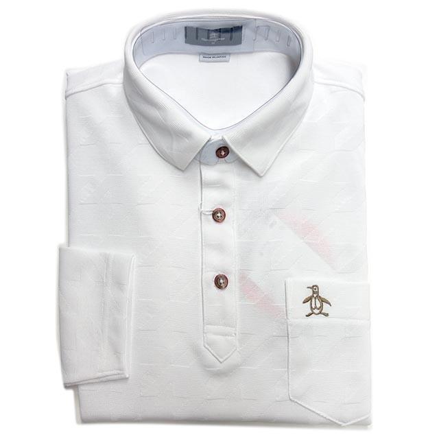 マンシングウェア メンズ  長袖ポロシャツ 千鳥ジャガード ホワイト ポケット付 日本製 2019年秋冬新作 MGMOGB07