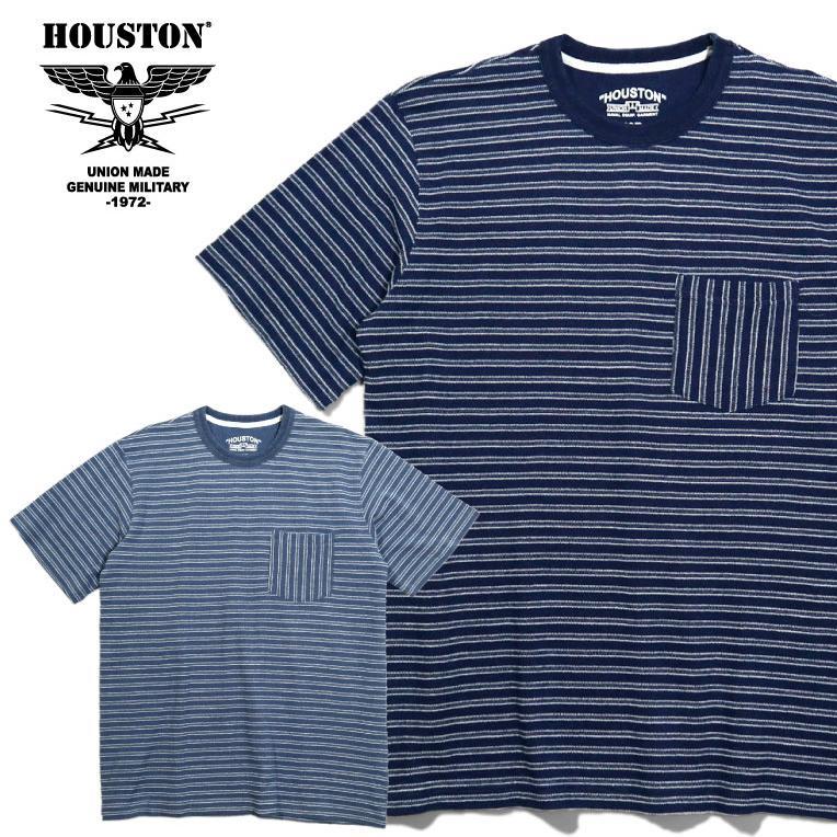 HOUSTON / ヒューストン 21786  INDIG BORDER JACQUARD TEE/ インディゴボーダー ジャガード Tシャツ -全2色- houston-1972
