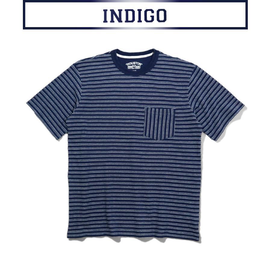 HOUSTON / ヒューストン 21786  INDIG BORDER JACQUARD TEE/ インディゴボーダー ジャガード Tシャツ -全2色- houston-1972 04
