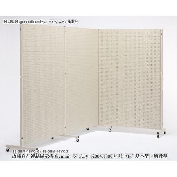 (Gemini)縦横自在 連結展示パネル(展示板)(ジェミニ) 両面有孔ボード  1200×1800 キャスタータイプ 基本セット(パネル1枚+支柱2本)予約
