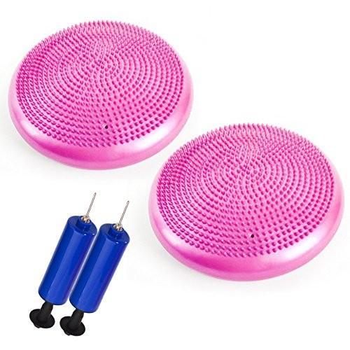 バランスディスク バランスクッション 体幹クッション ポンプ付き 2点セット ピンク