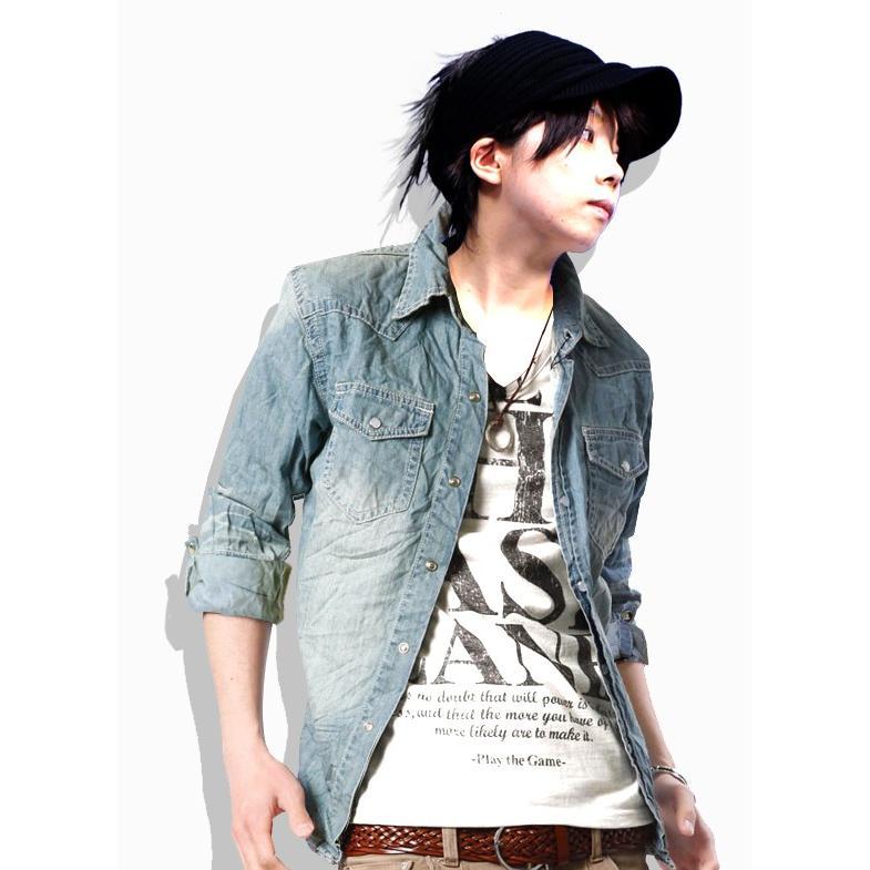 デニムシャツ メンズ シャツ 7分袖 半袖 長袖 ウエスタンシャツ デニム シャツ トップス|hukudokoro|08