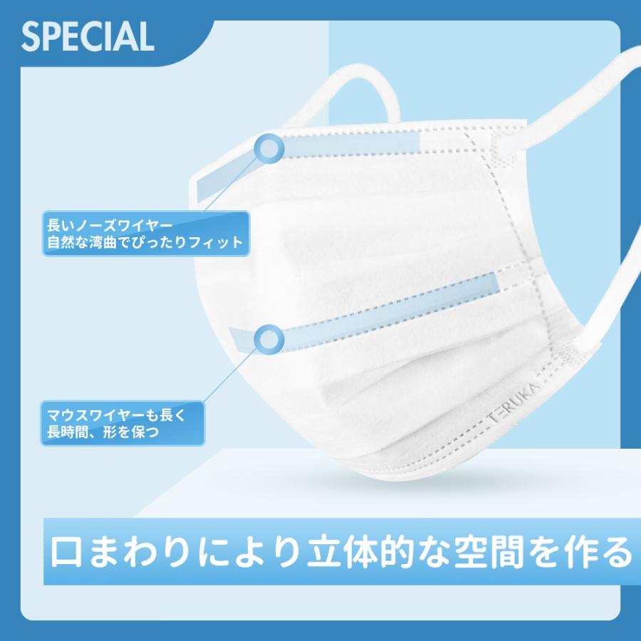 立体 マスク 不織布 カラー ホワイト Mサイズ ミディアム ふつう 165mm 50枚 個包装|hymstore|03