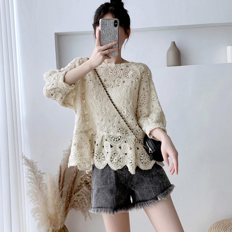 透かし編み トップス レディース5分袖 シースルーカットソー かぎ編み ブラウス 花刺繍 hymstore 02