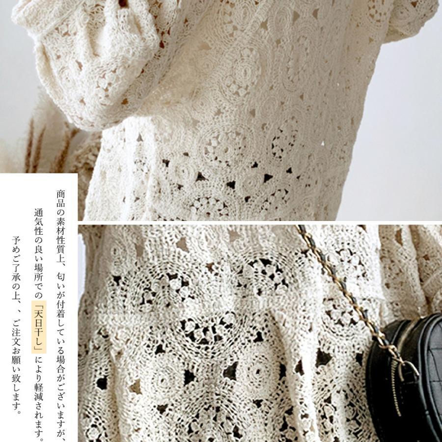 透かし編み トップス レディース5分袖 シースルーカットソー かぎ編み ブラウス 花刺繍 hymstore 03