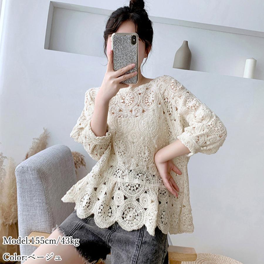 透かし編み トップス レディース5分袖 シースルーカットソー かぎ編み ブラウス 花刺繍 hymstore 04