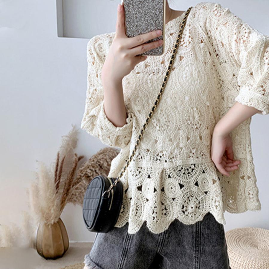 透かし編み トップス レディース5分袖 シースルーカットソー かぎ編み ブラウス 花刺繍 hymstore 05