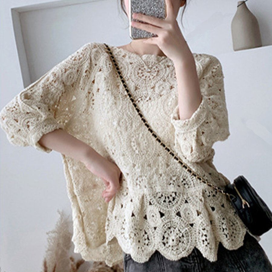 透かし編み トップス レディース5分袖 シースルーカットソー かぎ編み ブラウス 花刺繍 hymstore 06