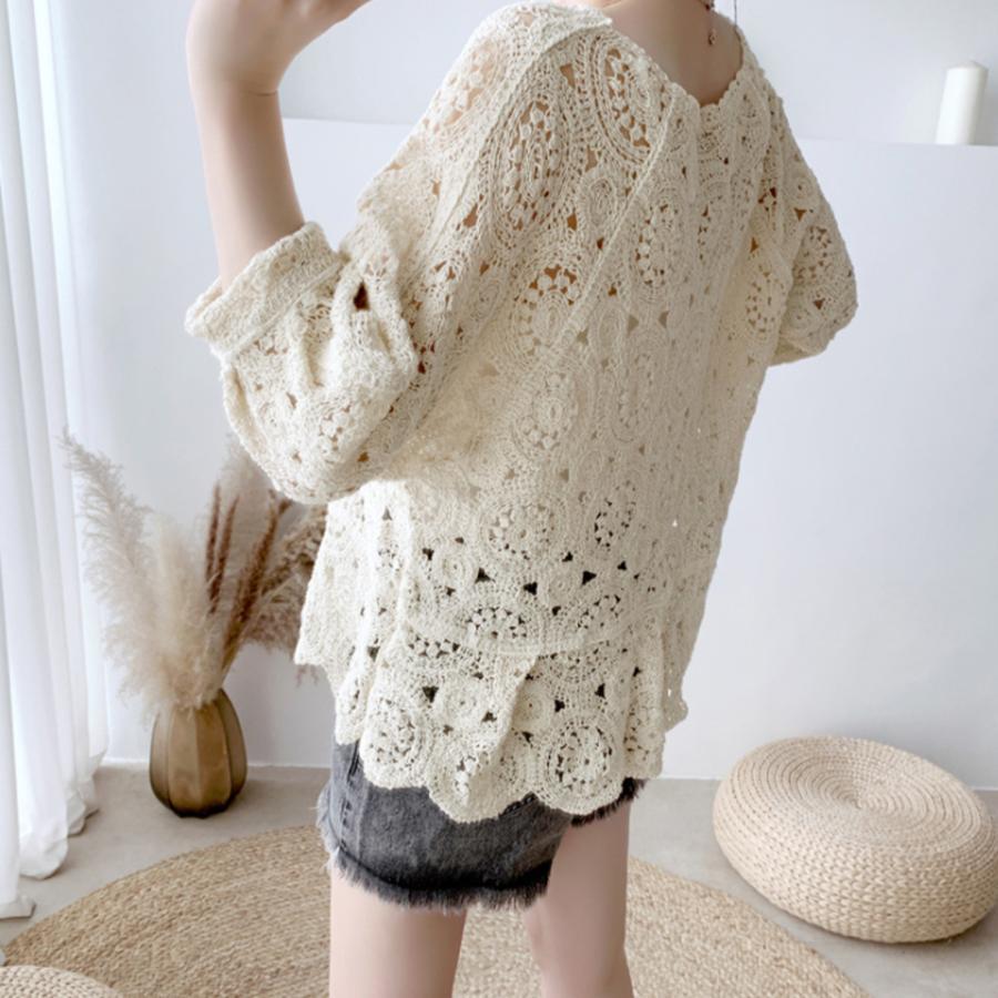 透かし編み トップス レディース5分袖 シースルーカットソー かぎ編み ブラウス 花刺繍 hymstore 07