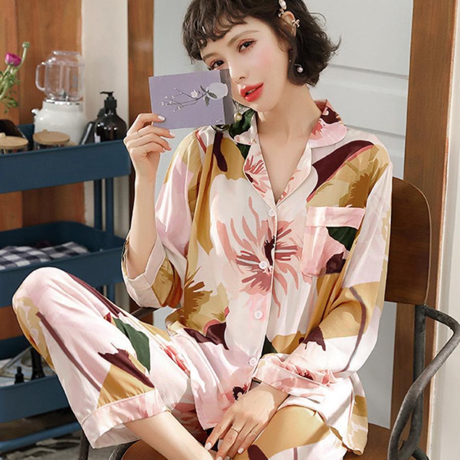 パジャマ 花柄 レディース 上下セット 可愛い ルームウエア 2点セット|hymstore|06
