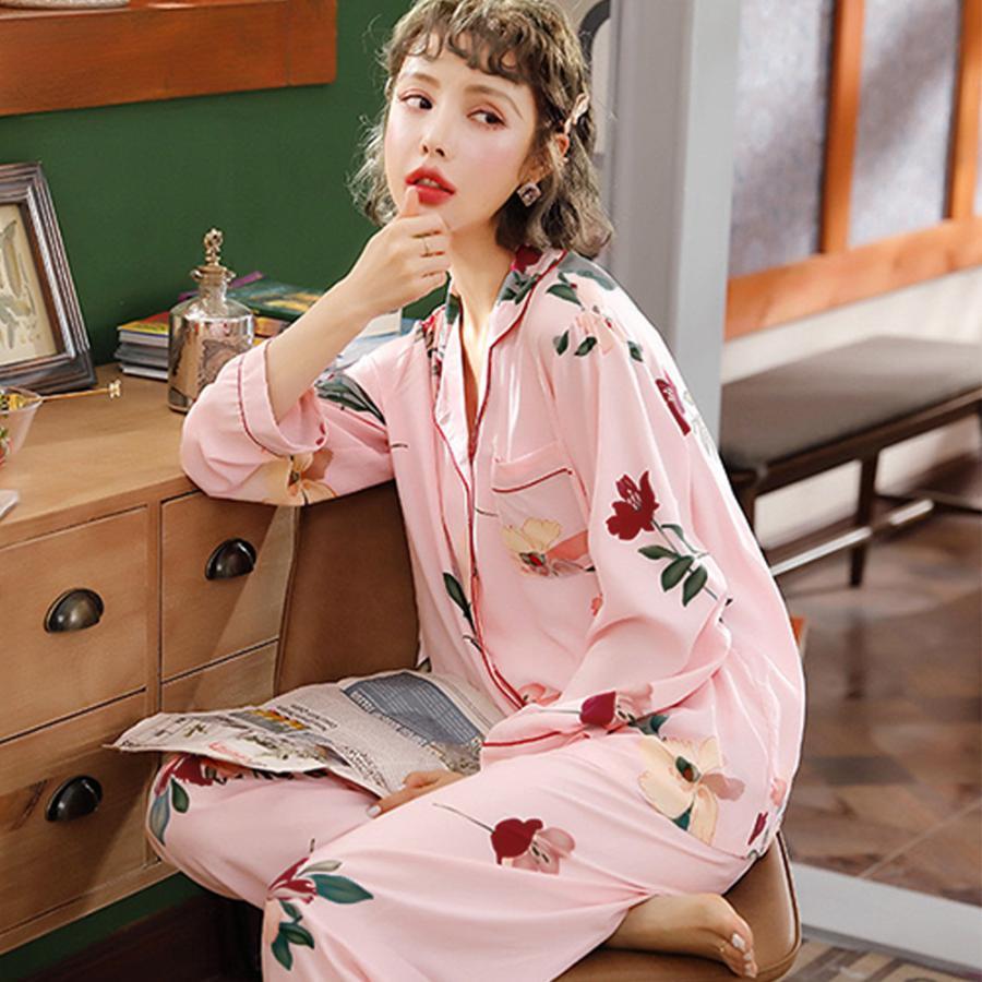 パジャマ 花柄 レディース 上下セット 可愛い ルームウエア 2点セット|hymstore|08